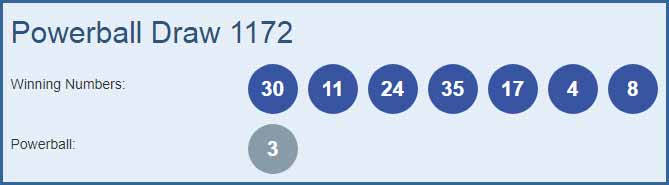 Powerball 1172 Lottery Results 01-11-2018   Draw No  1172