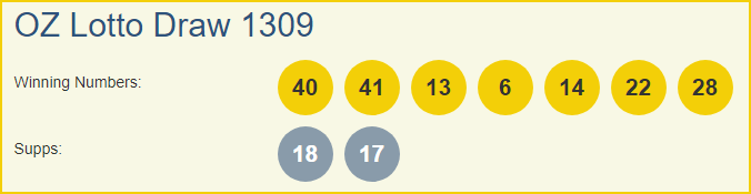 OZ Lotto 1309 Lottery Results 19-03-2019